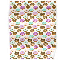 Donuts - junk food treat funny illustration with happy food face doughnuts pastry bakery Poster