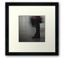 he shuffled his feet in a business suit with a briefcase  Framed Print