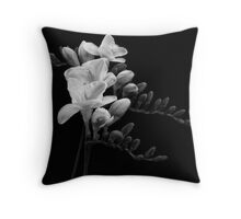 White Freesia Throw Pillow