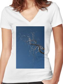 Silver and Blue - a Metal Tree Sculpture Plus Blue Sky and Sunshine Women's Fitted V-Neck T-Shirt