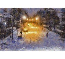 Snowy Night - Belgium Photographic Print
