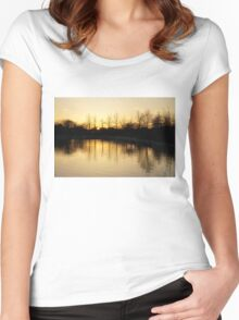 Golden and Peaceful - a Sunset on Lake Ontario in Toronto, Canada Women's Fitted Scoop T-Shirt