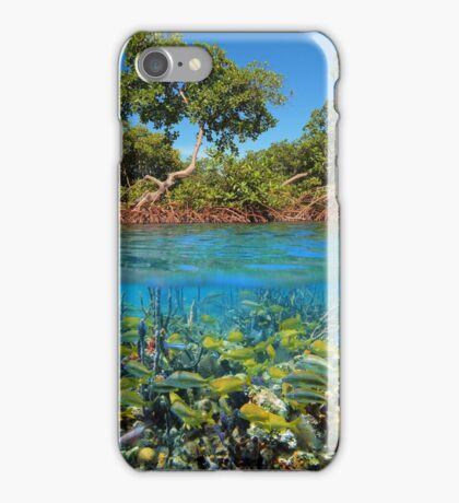 Split image mangroves and shoal of tropical fish iPhone Case/Skin
