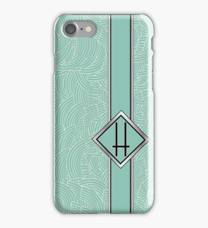 1920s Blue Deco Swing with Monogram letter H iPhone Case/Skin