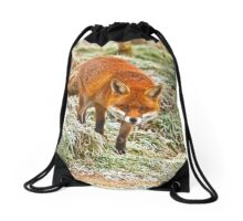 Fox in the frost Drawstring Bag