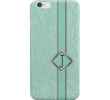 1920s Blue Deco Swing with Monogram letter j iPhone Case/Skin
