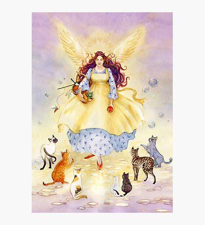 The Guardian Angel of Cats Photographic Print