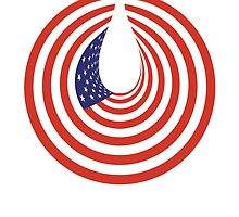 American Tear Drop, Grief, Sadness,  American Flag, Stars & Stripes, USA, America, In Circle by TOM HILL - Designer