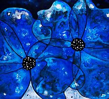 Evening Bloom Blue Flowers by Sharon Cummings by Sharon Cummings