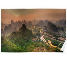 Sunset over Li-river at Yangshuo Poster