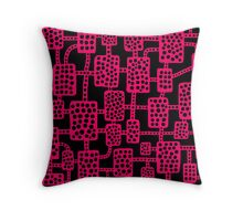 Abstract pattern 041113 - Neon Red on Black Throw Pillow