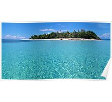 Pristine island and lagoon with turquoise water Poster
