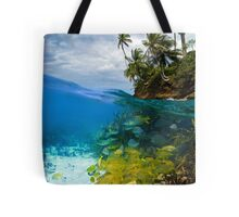 Shoal of fish and tropical shore with coconut trees Tote Bag
