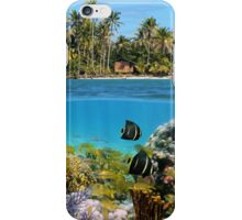 Colorful marine life underwater and tropical coast iPhone Case/Skin