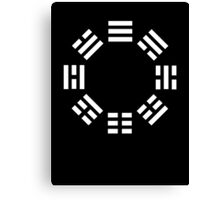 I Ching, symbol, Book of Changes, WHITE on Black Canvas Print