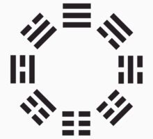 I Ching symbol, Book of Changes, Black on White T-Shirt