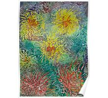 Star Burst Yellow Watercolor Painting Poster