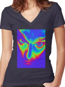 CRAZY EYES Women's Fitted V-Neck T-Shirt
