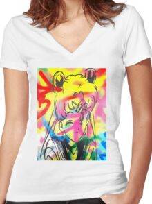 Graffiti Sailor Moon Women's Fitted V-Neck T-Shirt