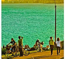 People Enjoyng a Sunny Day in a Park by DFLC Prints
