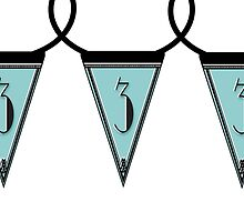 Manhattan 1920s Deco Blues Banner Pennant… number 3 by CecelyBloom