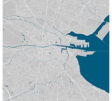 Dublin city map grey colour by mmapprints