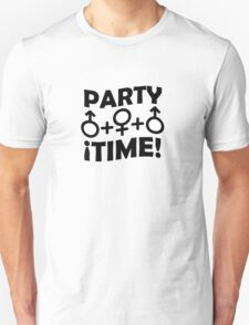 Party Time Threesome Sex Concept Typographic Design Unisex T-Shirt