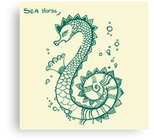 Funny sea horse with bubbles  Canvas Print