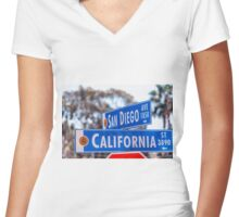 SAN DIEGO CROSSING OVER CALIFORNIA Women's Fitted V-Neck T-Shirt