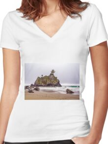 TREE ATOP ROCK Women's Fitted V-Neck T-Shirt