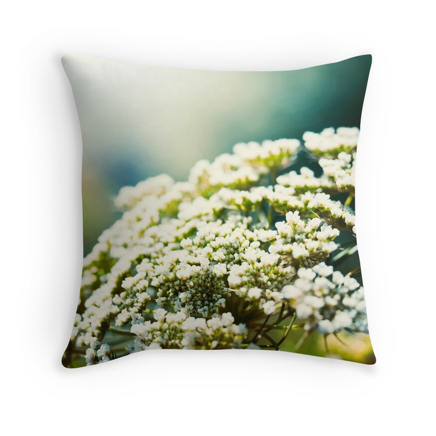 small white flowers throw pillows by psnoonan redbubble