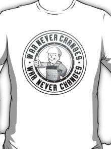 WAR NEVER CHANGES. Armored Vaultboy Fallout Design. T-Shirt
