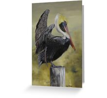 Golden Sunrise Pelican Greeting Card