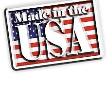 Made in the USA, with Flag, manufactured in America, USA, American, by TOM HILL - Designer