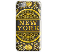 Vintage New York Label Plaque, Black and Gold iPhone Case/Skin