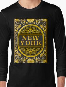 Vintage New York Label Plaque, Black and Gold Long Sleeve T-Shirt