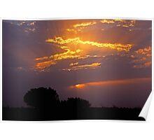 Sunset through stormclouds - Cameron Corner NSW Poster
