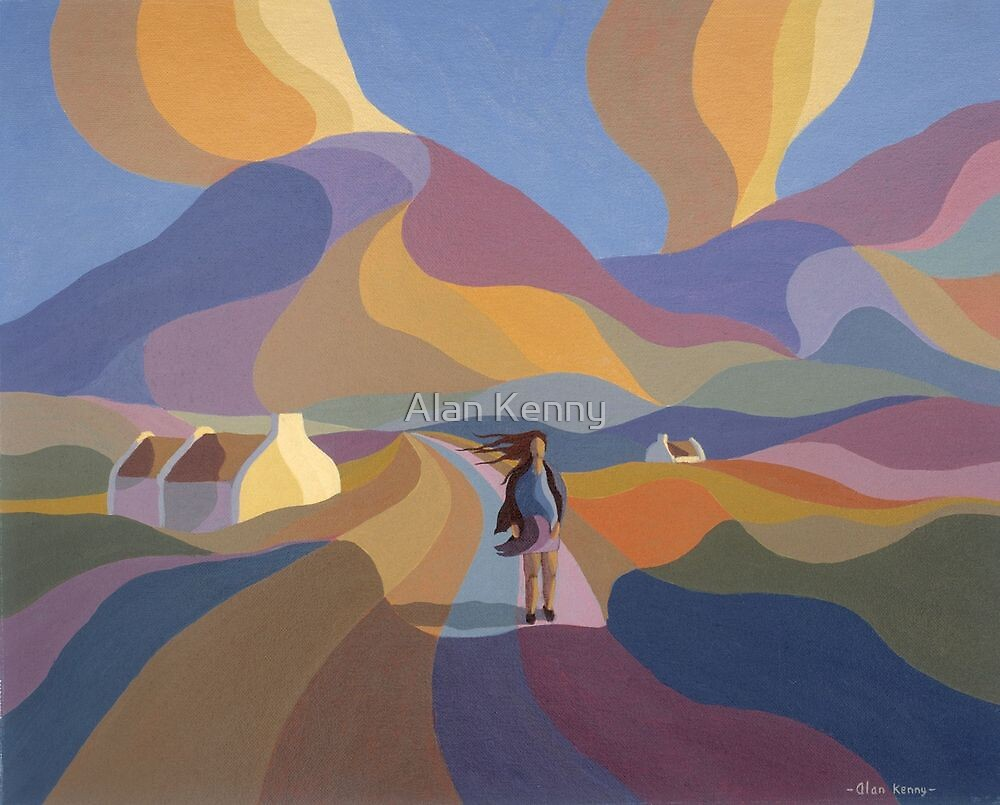 Dreamscape with girl and cottage by Alan Kenny