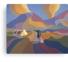 Dreamscape with girl and cottage Canvas Print
