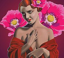 demure woman with pink poppies by Tennille Owens