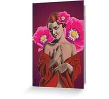demure woman with pink poppies Greeting Card