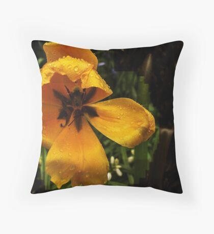 Tulip in the Rain 2 Throw Pillow
