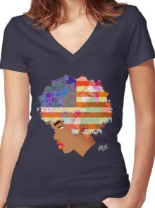 American Flower 'Fro ver. 2 Women's Fitted V-Neck T-Shirt