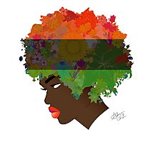 Pan-African Flag Flower 'Fro Photographic Print