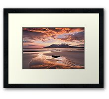 Isle of Eigg. Singing Sands Sunset. Highlands and Islands. Scotland. Framed Print