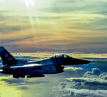 F-16 Fighting Falcon Digital Painting by verypeculiar