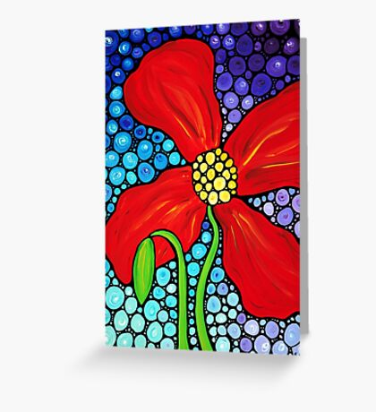 Lady In Red - Colorful Red Poppy Painting By Sharon Cummings Greeting Card