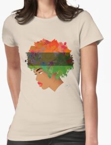 Pan-African Flag Flower 'Fro ver. 3 Womens Fitted T-Shirt