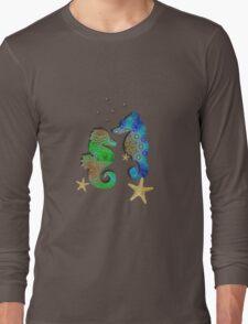 Pretty Blue Green Pattenred  Sea-Horses illustration Long Sleeve T-Shirt