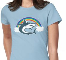 Unicorn Shark With Rainbow T Shirt Womens Fitted T-Shirt